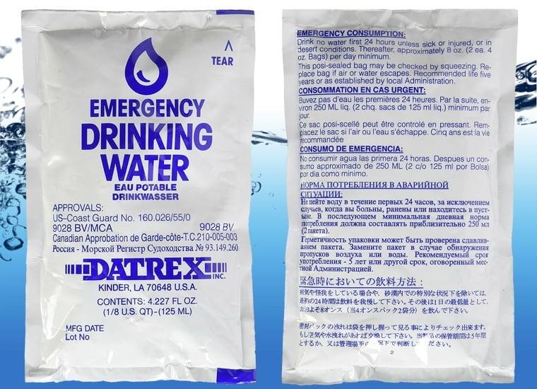 DATREX Emergency 125 ml Prefilled Water Pouch